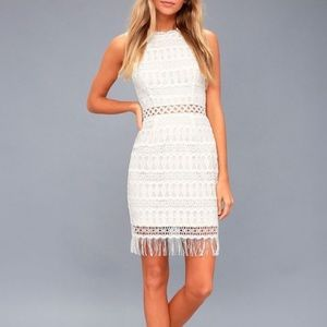 Lulu's Kenna White Crochet Lace Bodycon Dress XL